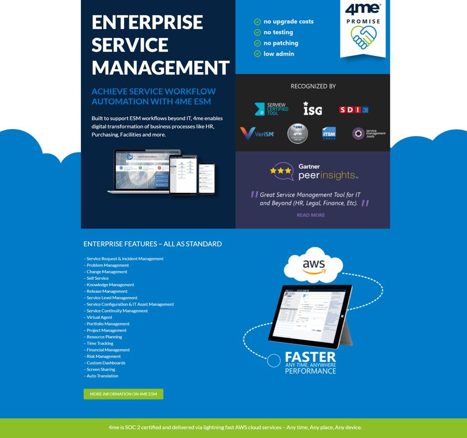 4me ESM landing page design