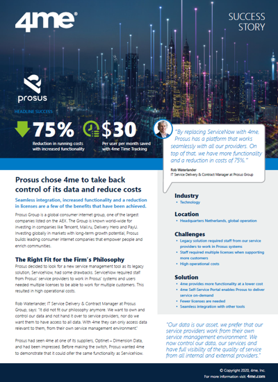 4me Prosus success story
